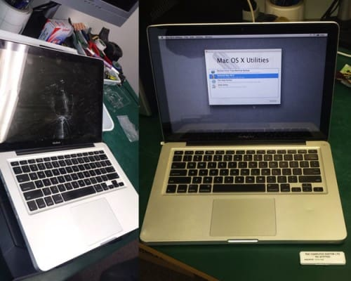 A MacBook with a broken LCD screen we sourced and installed a new screen and gave it back to the customer.